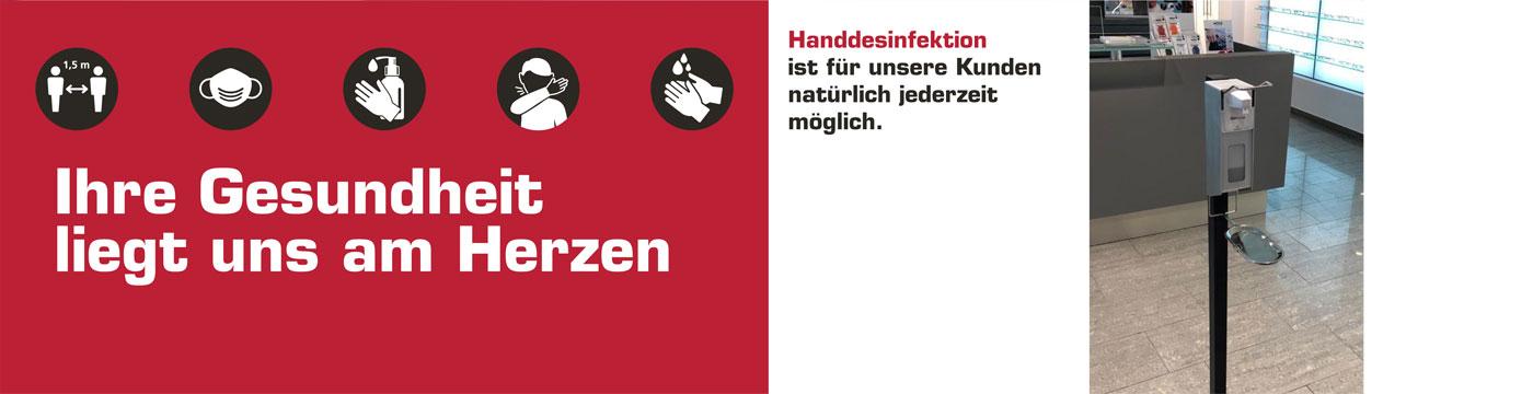 Handdesinfektion und Aerosolscheiben sind ebenfalls eine Selbstverständlichkeit bei uns.